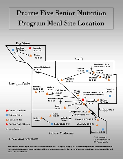 Prairie Five Senior Nutrition Program Meal Site Location Map