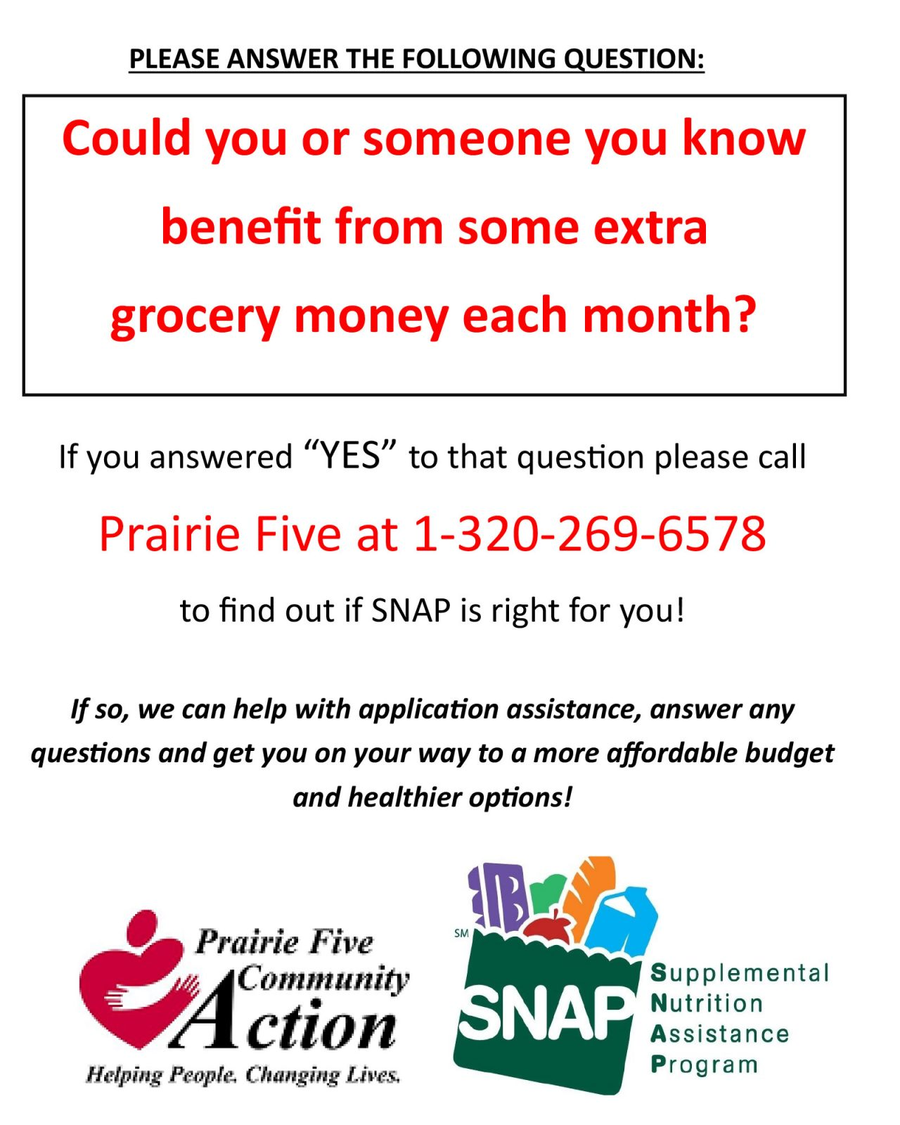 SNAP Flyer - Call 1-320-269-6578